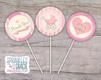 Instant Download Printable Cupcake Toppers Pink Baby Shower Pearls and Lace