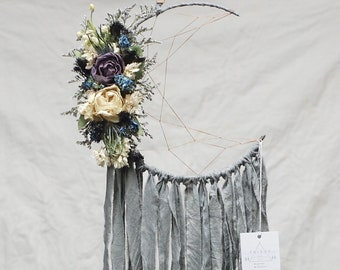 Grey Moon Dream Catcher with Dried Flowers
