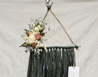 Olive Green Triangle Dream Catcher with Dried Flowers