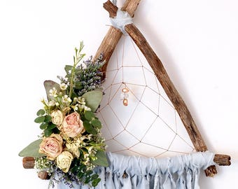 Baby Blue Triangle Dream Catcher with Dried Flowers