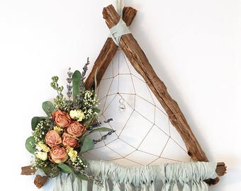 Light Sage Green Triangle Dream Catcher with Dried Flowers