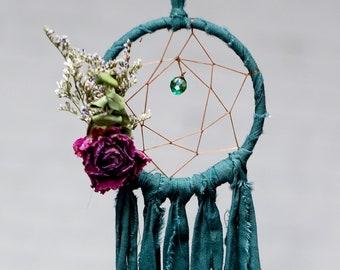 Mini Dream Catcher- Rearview Mirror Dream Catcher- Dream Catcher Ornament- Deep Teal