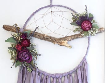 Lilac Purple Branch Dream Catcher with Dried Flowers