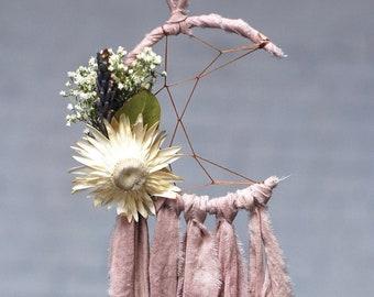 Mini Moon Dream Catcher- Rearview Mirror Dream Catcher- Dream Catcher Ornament- Blush