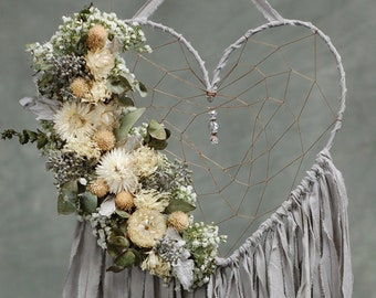 Heart Shaped Dream Catcher with Dried Flowers- Grey