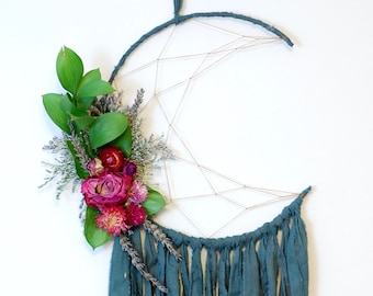 Deep Teal Moon Dream Catcher with Dried Flowers