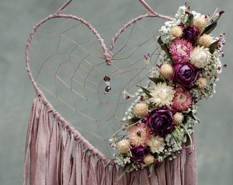 Heart Shaped Dream Catcher with Dried Flowers- Dusty Rose