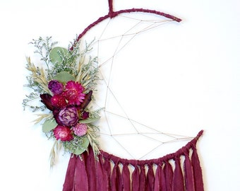 Plum Purple Moon Dream Catcher with Dried Flowers