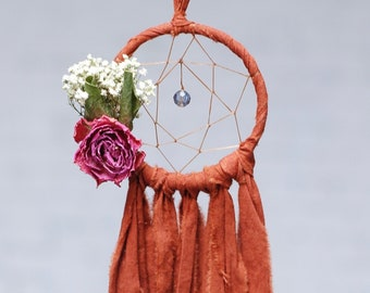Mini Dream Catcher- Rearview Mirror Dream Catcher- Dream Catcher Ornament- Burnt Orange