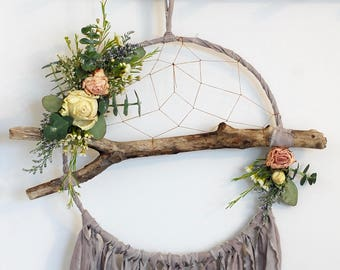 Grey Branch Dreamcatcher with Dried Flowers