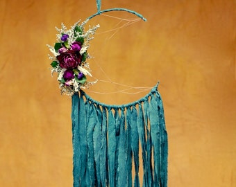 Deep Teal Moon Dream Catcher