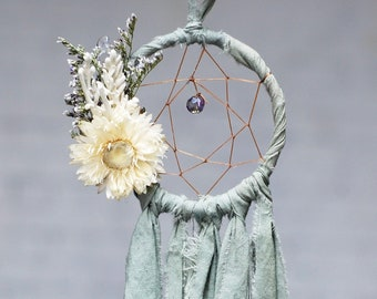 Mini Dream Catcher- Rearview Mirror Dream Catcher- Dream Catcher Ornament- Pale Sage Green