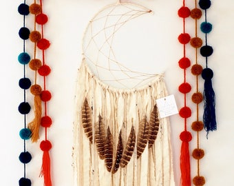 White Moon Dream Catcher with Feathers
