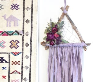 Lilac Purple Triangle Dream Catcher with Dried Flowers