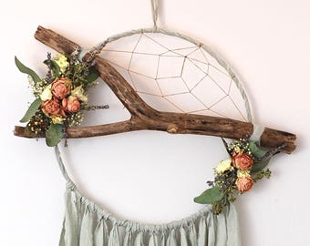 Light Sage Green Branch Dream Catcher with Dried Flowers