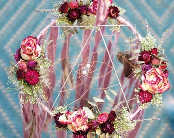 Baby Mobile Dreamcatcher with Dried Flowers- Dusty Rose Pink