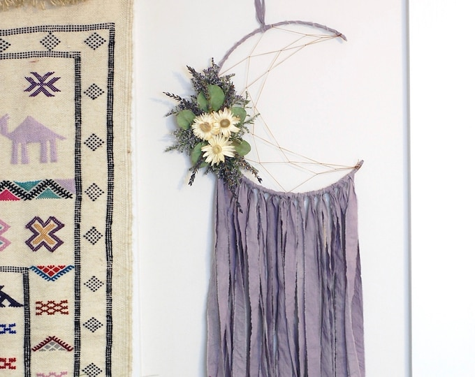 Featured listing image: Lavender Purple Moon Dream Catcher with Dried Flowers
