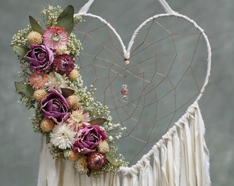 Heart Shaped Dream Catcher with Dried Flowers- Ivory