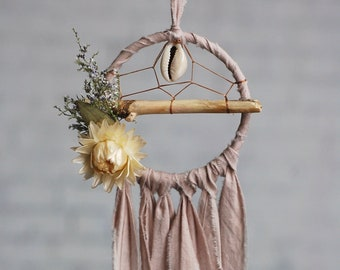Mini Driftwood Dream Catcher- Rearview Mirror Dream Catcher- Blush