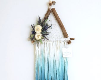 Teal Triangle Dream Catcher with Dried Flowers
