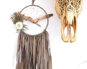 Olive Green Branch Dream Catcher with Dried Flowers