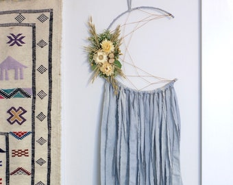 Baby Blue Moon Dream Catcher with Dried Flowers