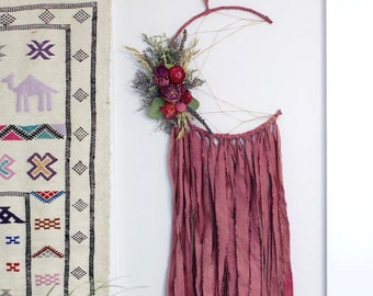 Dusty Rose Moon Dream Catcher with Dried Flowers