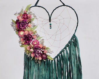 Heart Dream Catcher | Boho Dreamcatcher | Floral Dream Catcher | Emerald Green Dreamcatcher