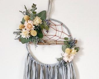 Boho Dreamcatcher | Floral Dream Catcher | Driftwood Dream Catcher- Grey