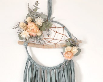 Boho Dreamcatcher | Floral Dream Catcher | Driftwood Dream Catcher- Sage