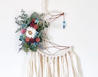 Moon Dreamcatcher | Floral Dream Catcher | Boho Dream Catcher- Ivory