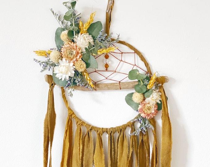 Featured listing image: Boho Dreamcatcher | Floral Dream Catcher | Driftwood Dream Catcher- Mustard Yellow