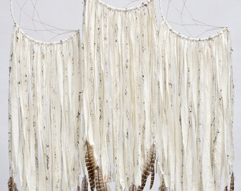 Moon Dreamcatcher | Ivory with Feathers