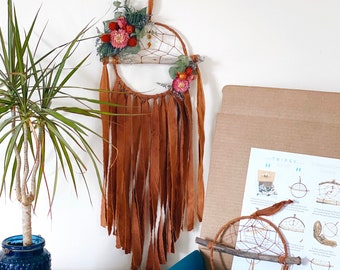 DIY Floral Dream Catcher Kit- Make your own dreamcatcher- Rust Orange