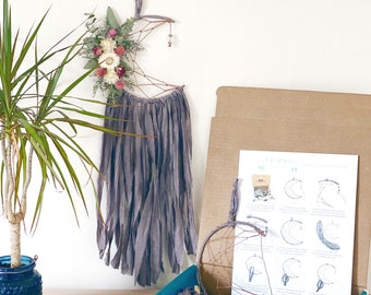 DIY Moon Dream Catcher Kit- Make your own dreamcatcher- Lilac Purple