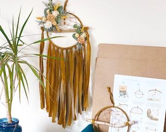 DIY Floral Dream Catcher Kit- Make your own dreamcatcher- Mustard Yellow