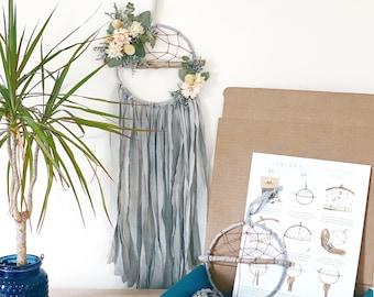 DIY Floral Dream Catcher Kit- Make your own dreamcatcher- Grey