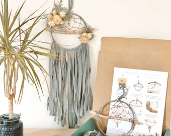 DIY Floral Dream Catcher Kit- Make your own dreamcatcher- Sage Green