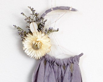 Mini Moon Dream Catcher- Rearview Mirror Dream Catcher- Lavender