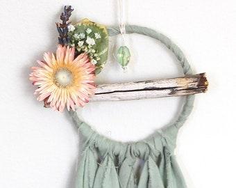 Mini Dream Catcher- Rearview Mirror Dream Catcher- Pale Sage Green