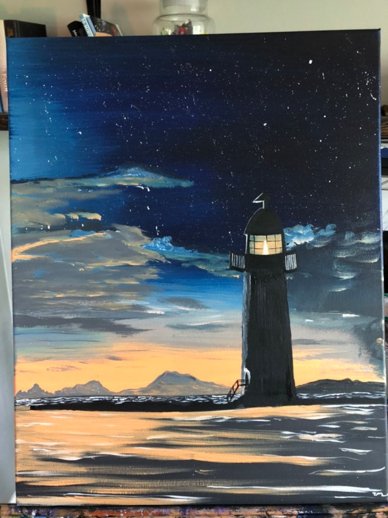 Sunset lighthouse painting with a starry night