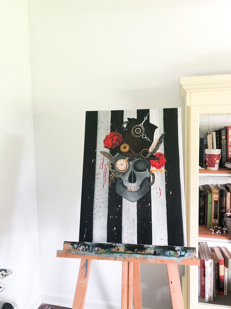 ORIGINAL Skull Painting With Tophat And Accessories Not A Print