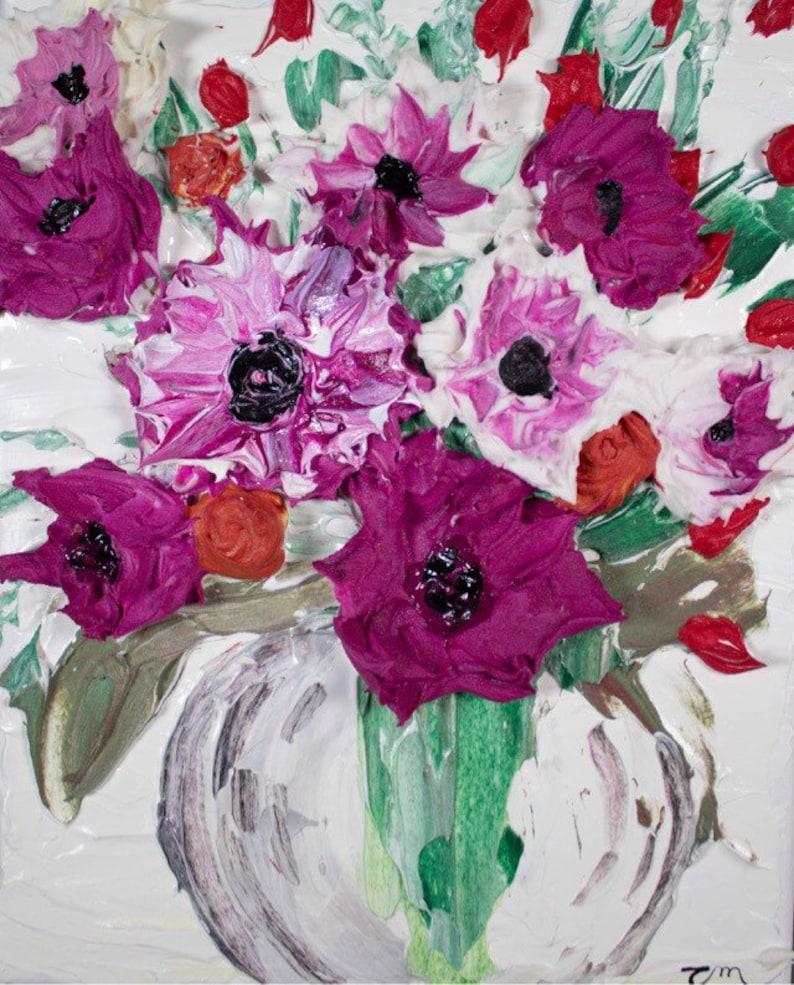 Impasto Purple Flowers in Vase Textured Painting 8x10 Original painting