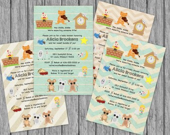 Nursery rhyme baby shower invitation etsy nursery rhyme baby shower invitation mother goose bring a book build a library filmwisefo