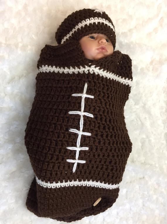df19ef89572a Baby Boy Football cocoon   hat set Baby bunting bag or sleep