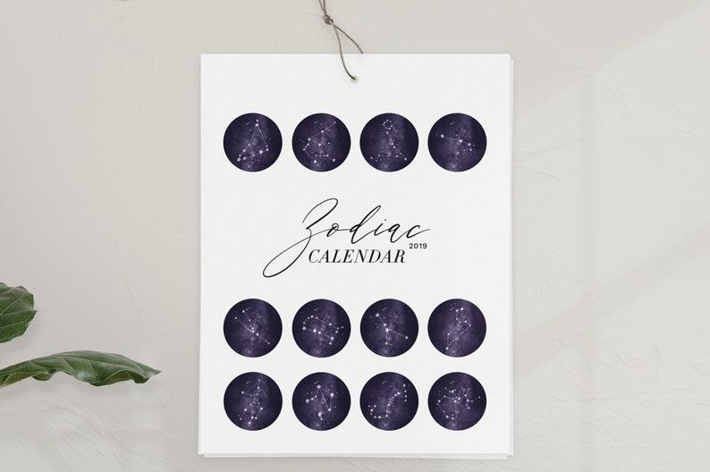 Calendario Zodiacale.Calendario Zodiacale 2019 2019 Calendario Calendario Da Parete Arte Zodiac Constellation Regalo Di Compleanno Regalo Di Natale Stelle Parete