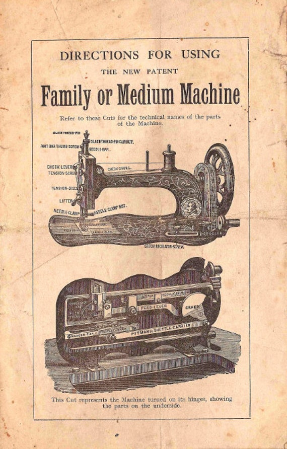 PDF 1890s Bradbury Family Or Medium Fiddle Base Treadle Sewing Machine Manual Instant Download Downloadable Printable Copy Instruction