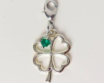 Four Leaf Clover - Planner Charm - Silver Shamrock Travelers Notebook Charm with Emerald Green Crystal for St. Patrick's Day