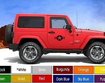 2 Jeep Wrangler YJ CJ TJ Destroyer Edition Hood Decal Pair Pick Color Shipped!