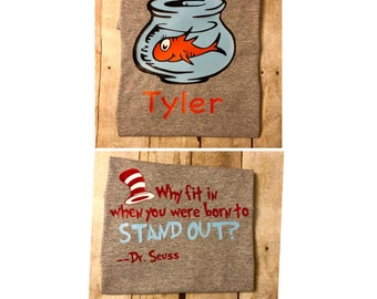 Personalized Fish from the Cat in the Hat Shirt; Dr. Seuss; Birthday; Read, Teacher; Student; Vinyl